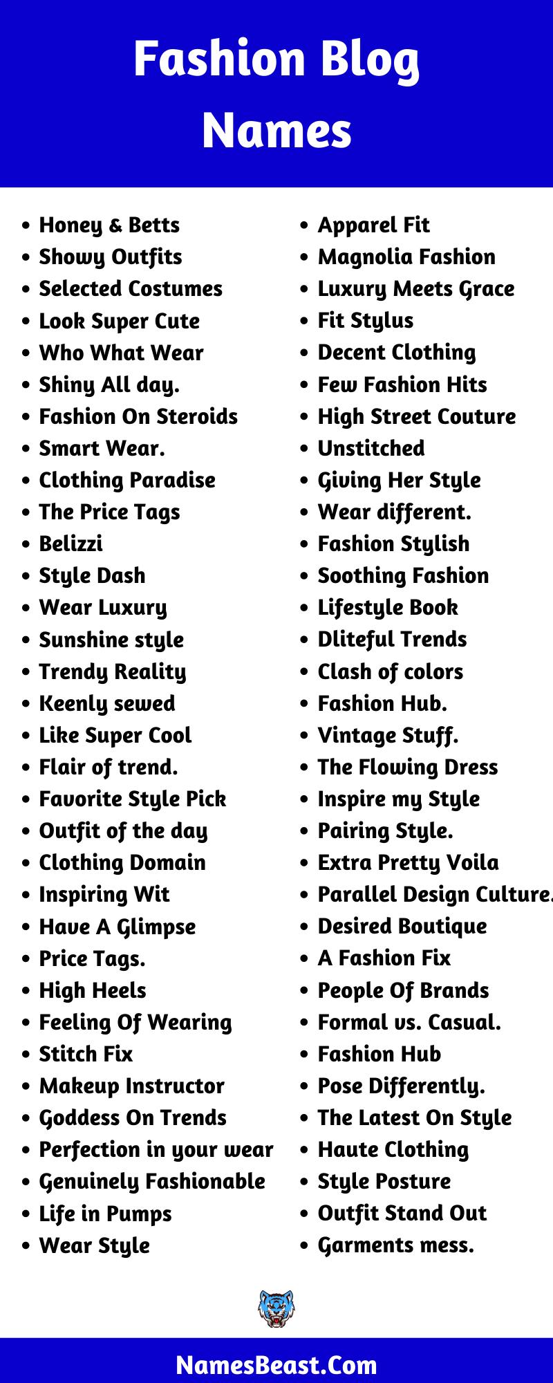 Fashion Blog Name Ideas