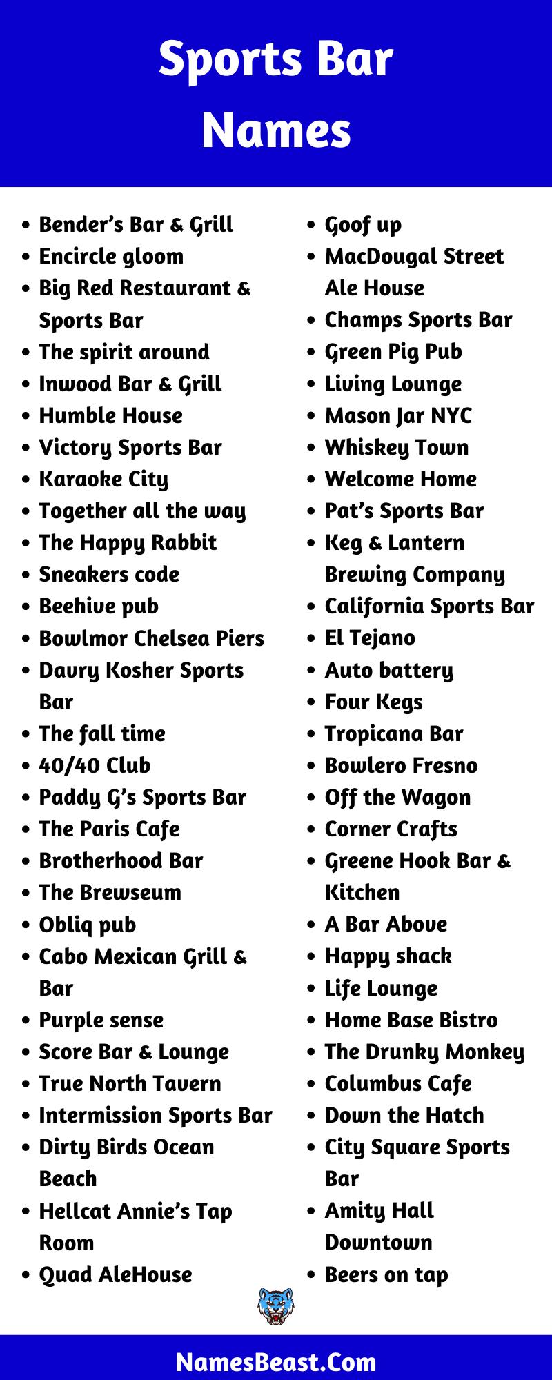 Sports Bar Name Ideas