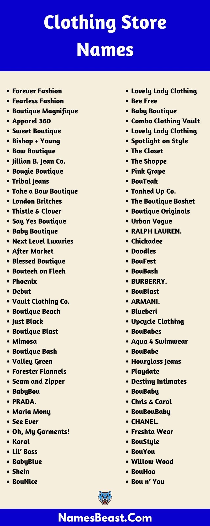 Clothing Store Names