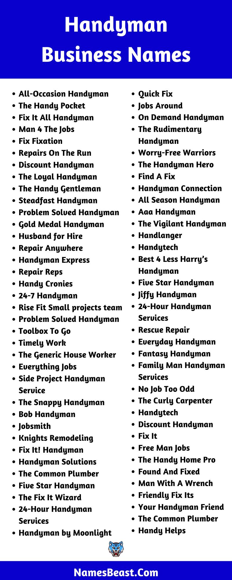 Handyman Business Name Ideas