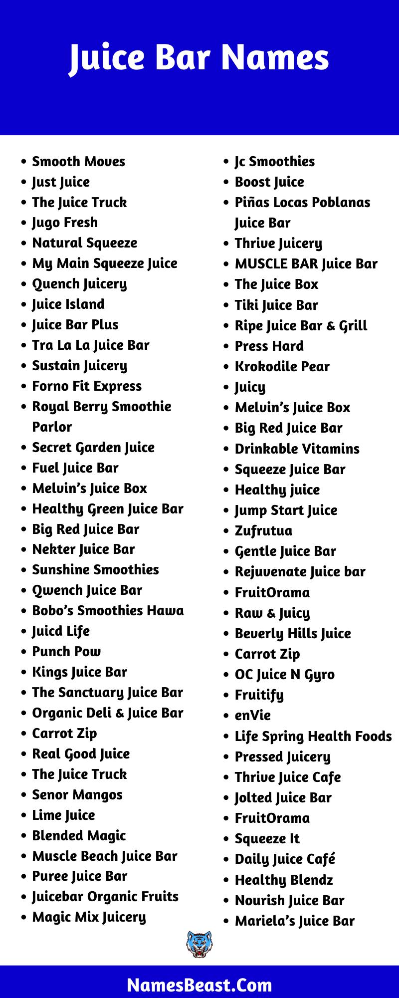 Juice Bar Name Ideas