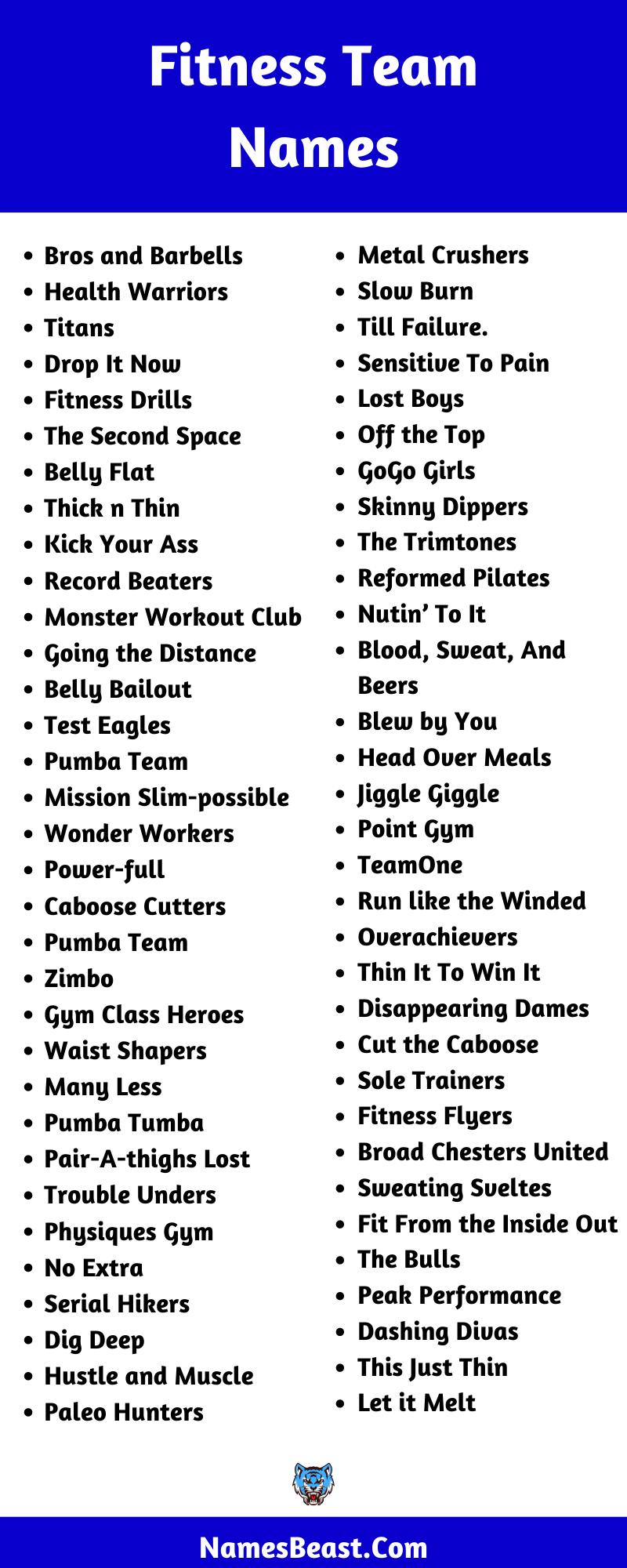 Fitness Team Name Ideas