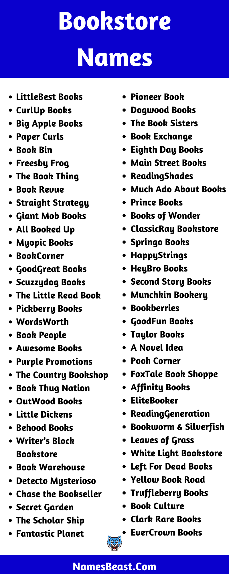 Bookstore Name Ideas